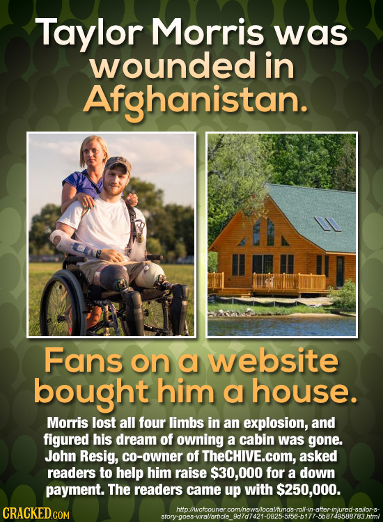 Taylor Morris was wounded in Afghanistan. Fans on a website bought him a house. Morris lost all four limbs in an explosion, and figured his dream of o