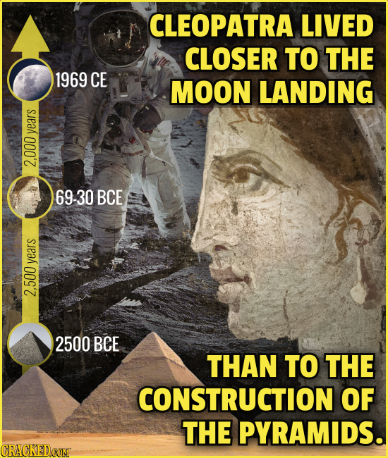 CLEOPATRA LIVED CLOSER TO THE 1969 CE MOON LANDING years 2.000 69-30 BCE years 2.500 2500 BCE THAN TO THE CONSTRUCTION OF THE PYRAMIDS. CRACKEDCOMT