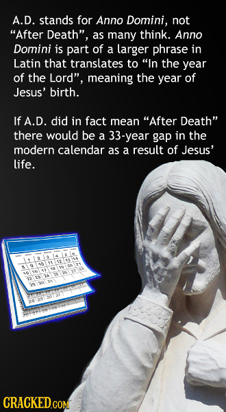 A.D. stands for Anno Domini, not After Death, as many think. Anno Domini is part of a larger phrase in Latin that translates to In the year of the