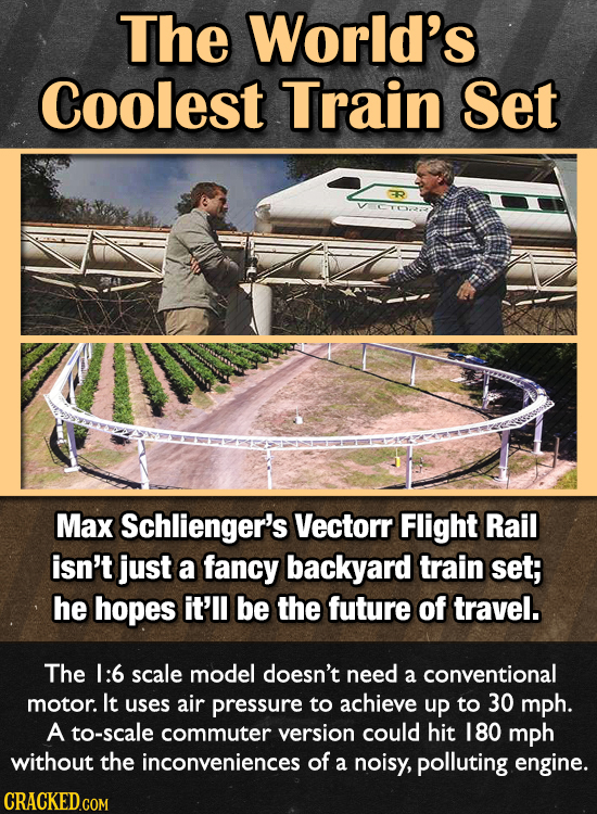 The World's Coolest Train Set Max Schlienger's Vectorr Flight Rail isn't just a fancy backyard train set; he hopes it'll be the future of travel. The