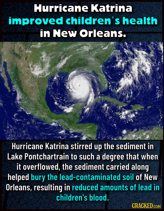 Hurricane Katrina improved children's health in New Orleans. Hurricane Katrina stirred up the sediment in Lake Pontchartrain to such a degree that whe