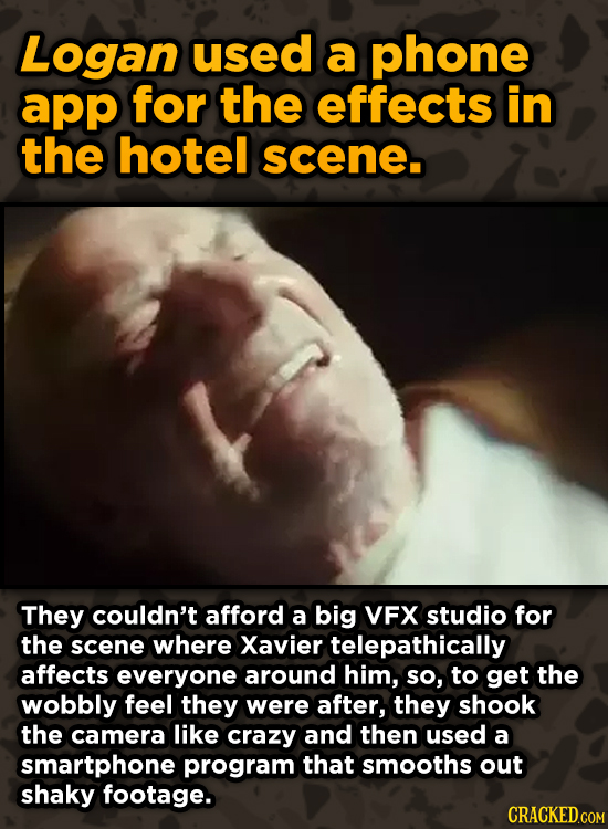 Ingenious Ways Famous Movies Pulled Off Special Effects - Logan used a phone app for the effects in the hotel scene.