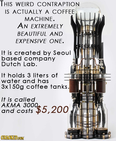 THIS WEIRD CONTRAPTION IS ACTUALLY A COFFEE MACHINE. AN EXTREMELY BEAUTIFUL AND EXPENSIVE ONE. It is created by Seoul based company Dutch Lab. It hold