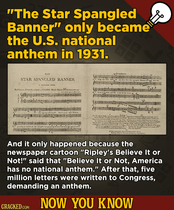 13 Little Things You Didn't Know About Movies And A Bunch Of Other Subjects - The Star Spangled Banner only became the U.S. national anthem in 1931.