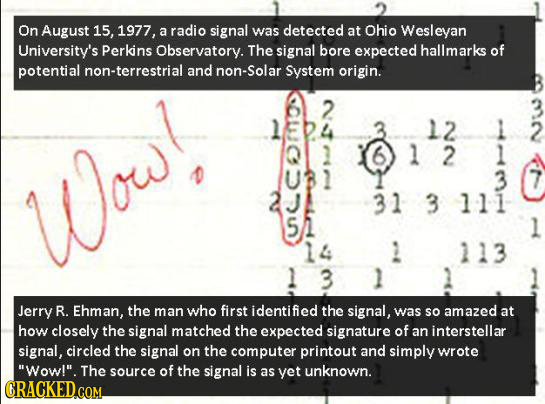 On August 15, 1977, a radio signal was detected at Ohio Wesleyan University's Perkins Observatory. The signal bore expected hallmarks of potential non