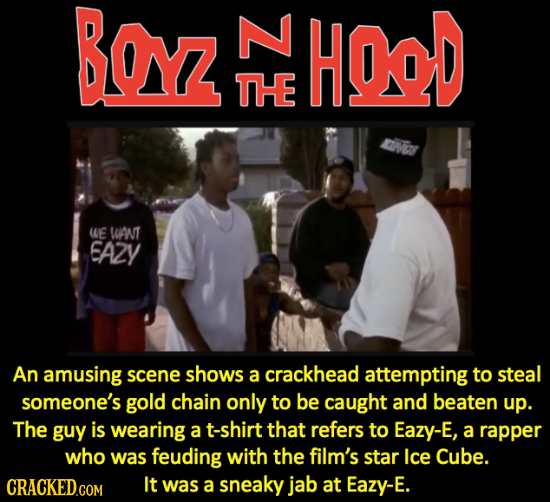 Boy HOD THE ay WE WANT EAZY An amusing scene shOWS a crackhead attempting to steal someone's gold chain only to be caught and beaten up. The guy is we