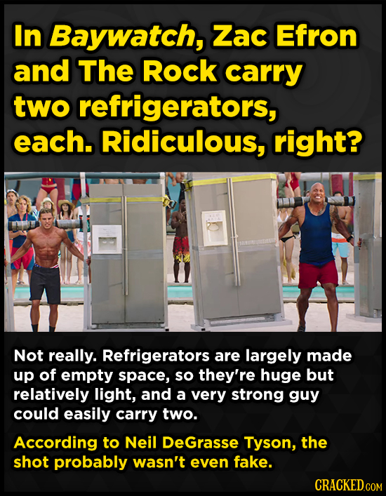 In Baywatch, Zac Efron and The Rock carry two refrigerators, each. Ridiculous, right? Not really. Refrigerators are largely made up of empty space, so
