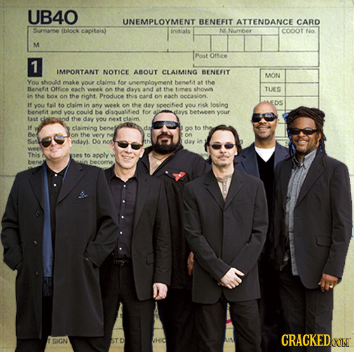 UB40 UNEMPLOYMENT BENEFIT ATTENDANCE CARD Surname (block capitais) Inithals NI Nuryber CODOT NO M Post Office 1 IMPORTANT NOTICE ABOUT CLAIMING BENEFI