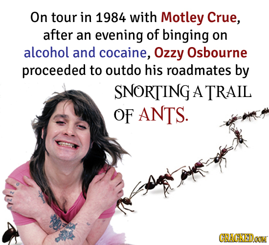 On tour in 1984 with Motley Crue, after an evening of binging on alcohol and cocaine, Ozzy Osbourne proceeded to outdo his roadmates by SNORTING A TRA
