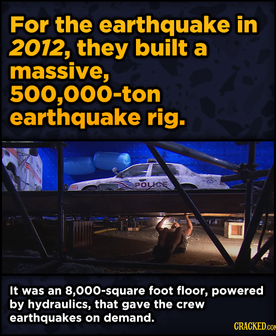 Ingenious Ways Famous Movies Pulled Off Special Effects - For the earthquake in 2012, they built a massive, 500,000-ton earthquake rig.