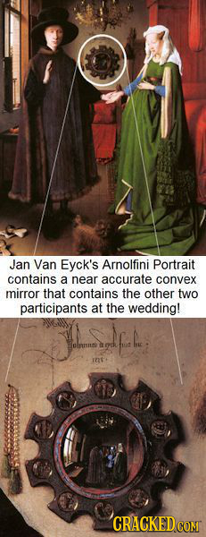 Jan Van Eyck's Arnolfini Portrait contains a near accurate convex mirror that contains the other two participants at the wedding! Sinsr n