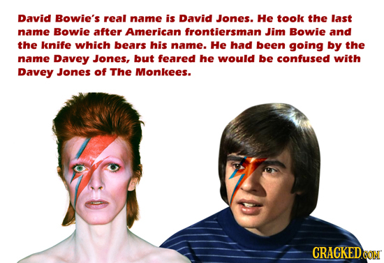 David Bowie's real name is David Jones. He took the last name Bowie after American frontiersman Jim Bowie and the knife which bears his name. He had b