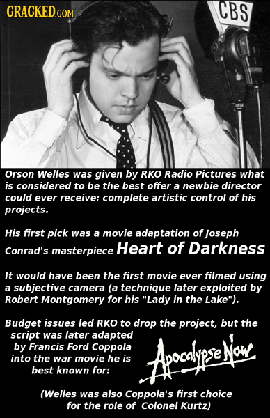 CRACKED.COM CBS Orson Welles was given by RKO Radio Pictures what is considered to be the best offer a newbie director could ever receive: complete ar