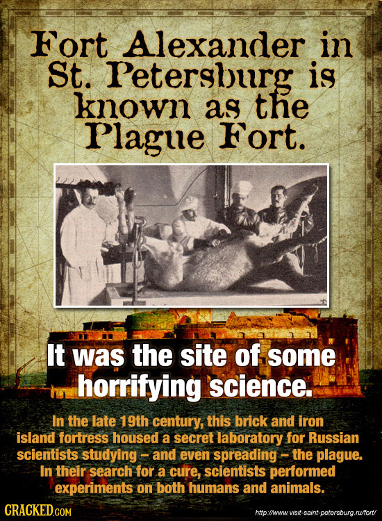 Fort Alexander in St. Petersburg is known as the Plague Fort. It was the site of some horrifying science. In the late 19th century, this brick and iro