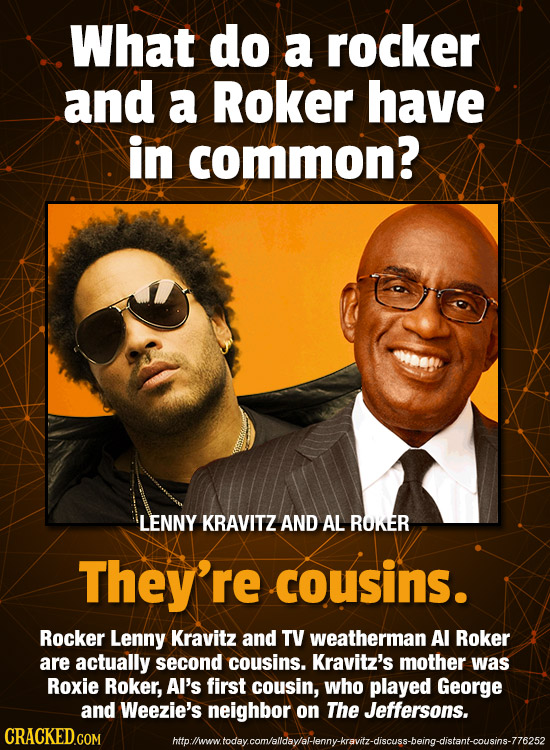 What do a rocker and a Roker have in common? LENNY KRAVITZ AND AL ROKER They're cousins. Rocker Lenny Kravitz and TV weatherman Al Roker are actually