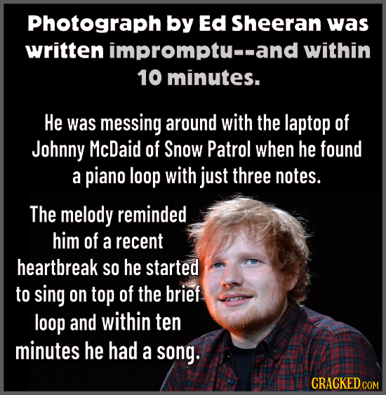 Photograph by Ed Sheeran was written impromptu--and within 10 minutes. He was messing around with the laptop of Johnny McDaid of Snow Patrol when he f