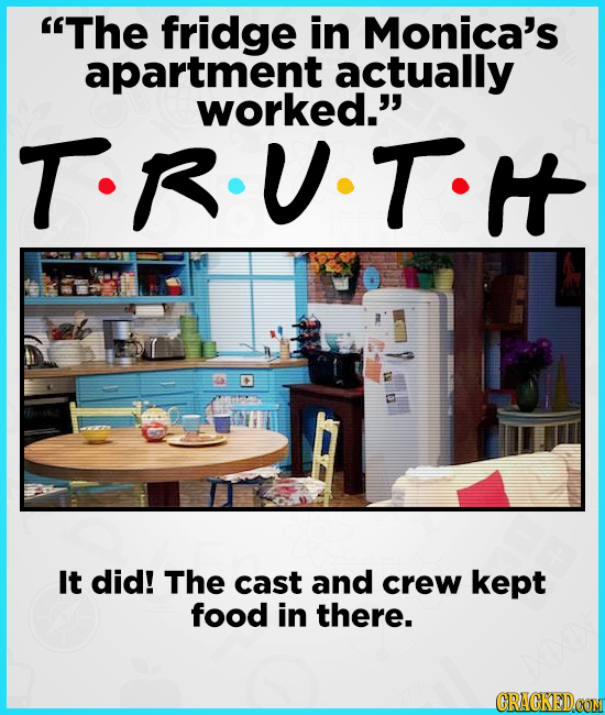 The fridge in Monica's apartment actually worked.'' T-R-U.T.t It did! The cast and crew kept food in there. CRAGKEDCOM