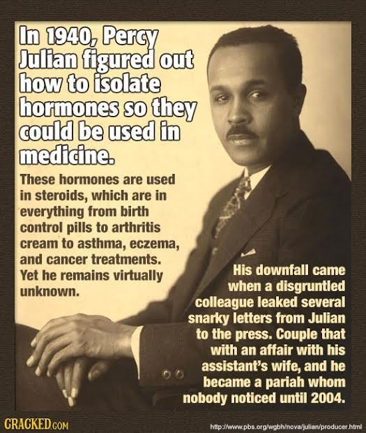 In 1940, Percy Julian figured out how to isolate hormones So they could be used in medicine. These hormones are used in steroids, which are in everyth