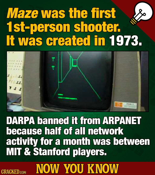 Maze was the first St-person shooter. It was created in 1973. DARPA banned it from ARPANET because half of all network activity for a month was betwee