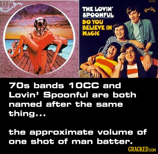 THE LOVIN' SPOONFUL DO YOU BELIEVE IN MAGIG 70s bands 10CC and Lovin' Spoonful are both named after the same thing... the approximate volume of one sh