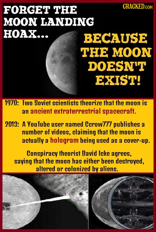 FORGET THE MOON LANDING HOAX... BECAUSE THE MOON DOESN'T EXIST! 1970: IWo Soviet scientists Theorize that the moon is an ancient extraterrestrials spa