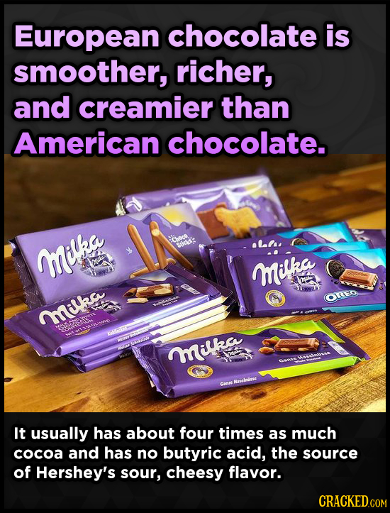 European chocolate is smoother, richer, and creamier than American chocolate. enoco oL.lss Stice: Milka M milka OREO milrs TIAOLER re OT Mika POR Canr