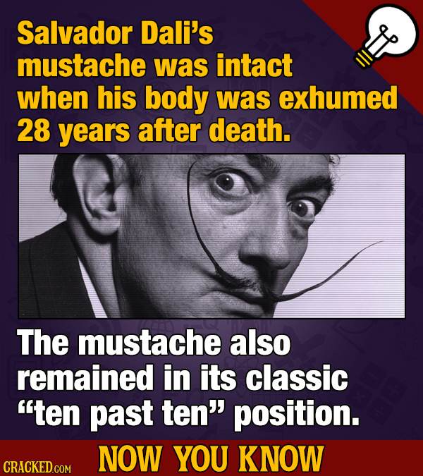Salvador Dali's mustache was intact when his body was exhumed 28 yearS after death. The mustache also remained in its classic ten past ten' position