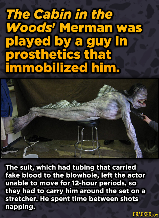 Ingenious Ways Famous Movies Pulled Off Special Effects - The Cabin in the Woods' Merman was played by a guy in prosthetics that