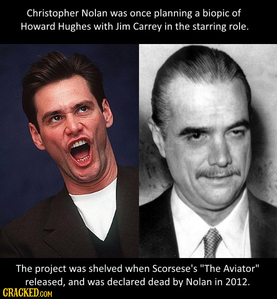 Christopher Nolan was once planning a biopic of Howard Hughes with Jim Carrey in the starring role. The project was shelved when Scorsese's The Aviat