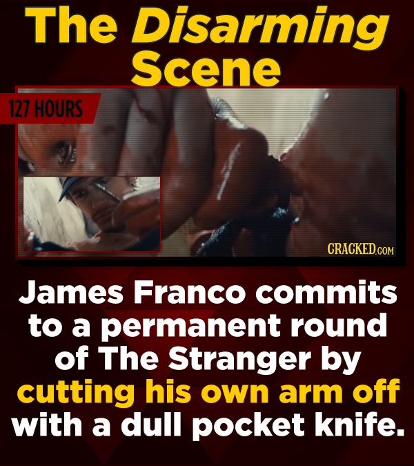 The Disarming Scene 127 HOURS James Franco commits to a permanent round of The Stranger by cutting his own arm off with a dull pocket knife.