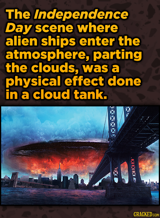 Ingenious Ways Famous Movies Pulled Off Special Effects - The Independence Day scene where alien ships enter the atmosphere,
