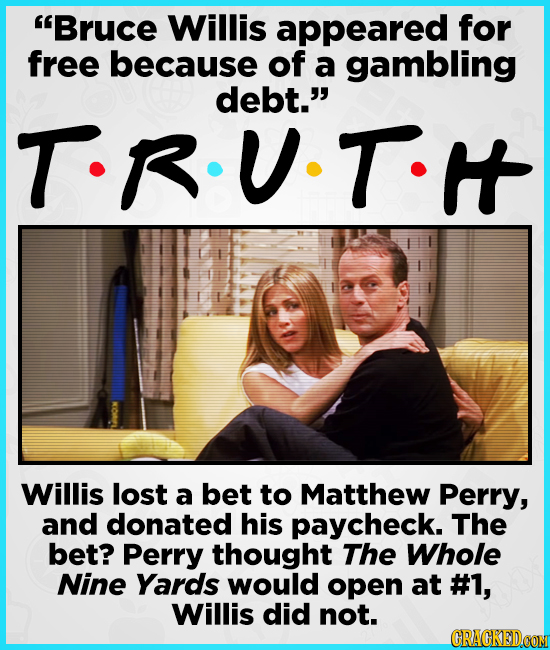 Bruce Willis appeared for free because of a gambling debt. TR.U.T. Willis lost a bet to Matthew Perry, and donated his paycheck. The bet? Perry thou