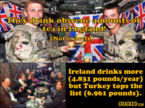 They drink obscene amounts of tea in England! (Not exactly) Ireland drinks more (4.831 pounds/ year) but Turkey tops the list (6.961 pounds). CRACKED