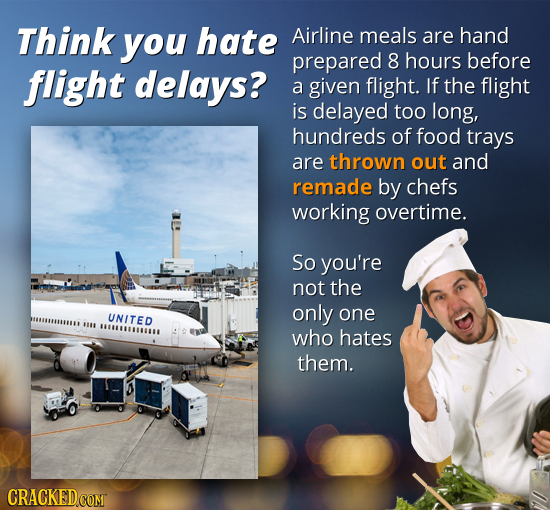 Think you hate Airline meals are hand prepared 8 hours before flight delays? a given flight. If the flight is delayed too long, hundreds of food trays