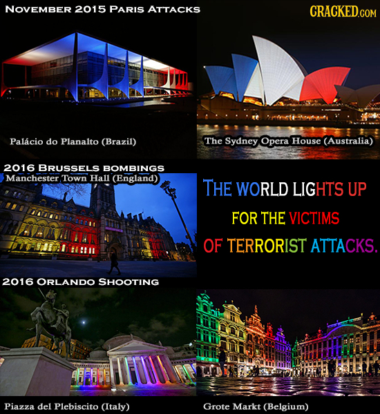 NOVEMBER 2015 PARIS ATTACKS Palacio do Planalto (Brazil) The Sydney Opera House (Australia) 2016 BRUSSELS BOMBINGS Manchester. Town Hall (England) THE