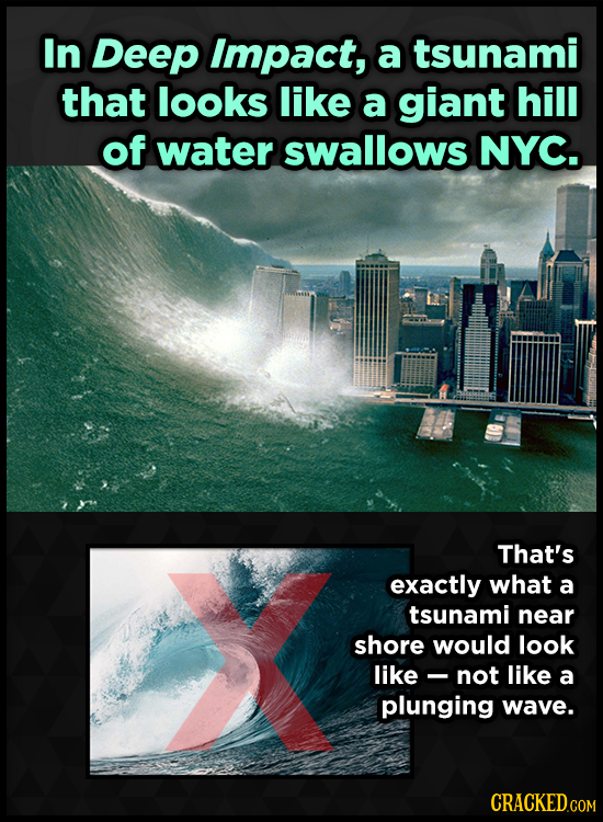 In Deep Impact, a tsunami that looks like a giant hill of water swallows NYC. That's exactly what a tsunami near shore would look like- not like a plu