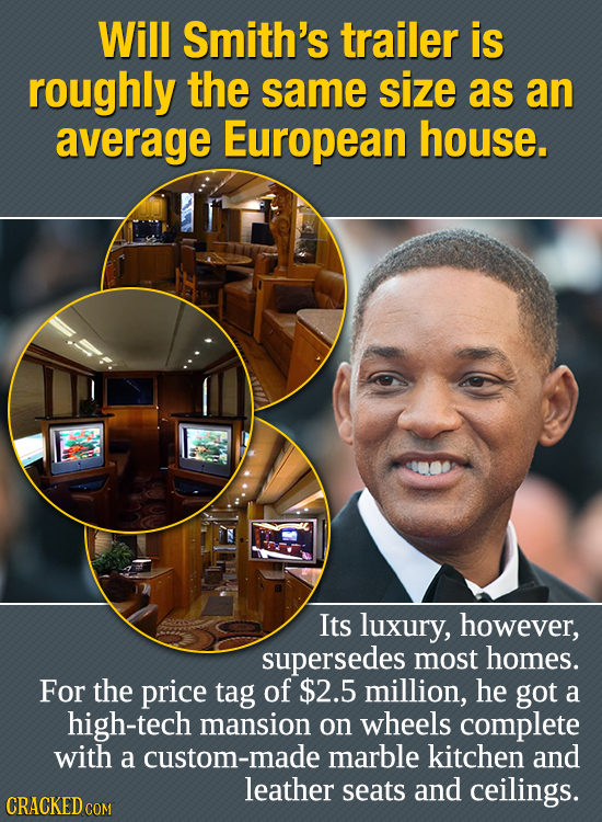 Will Smith's trailer is roughly the same size as an average European house. Its luxury, however, supersedes most homes. For the price tag of $2.5 mill