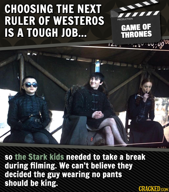 CHOOSING THE NEXT RULER OF WESTEROS PRODUCTION OF IS A TOUGH JOB... GAME THRONES 1/0 SO the Stark kids needed to take a break during filming. We can't