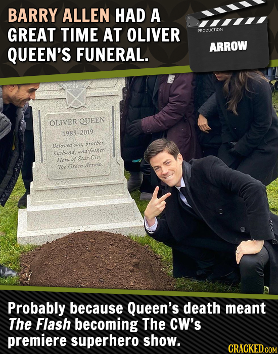 BARRY ALLEN HAD A GREAT TIME AT OLIVER PPOICTION QUEEN'S FUNERAL. ARROW OLIVER QUEEN 1985-2019 prother, Beloved'sor son, busband, and:father Hero of S