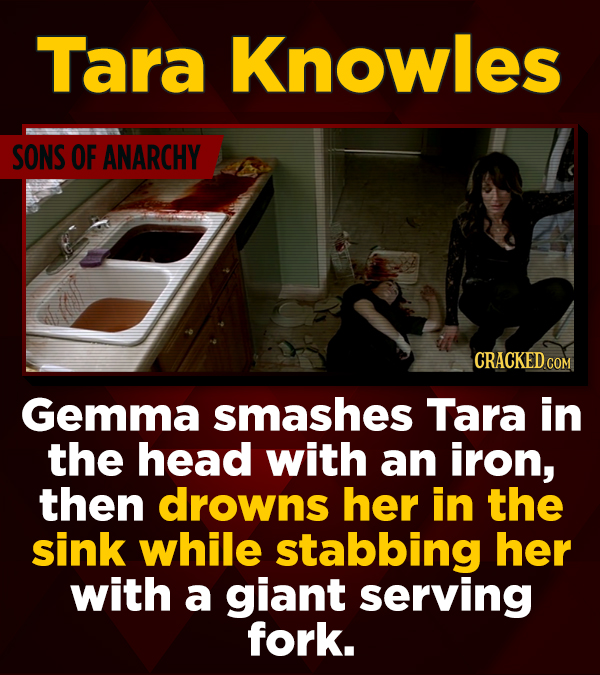 Tara Knowles SONS OF ANARCHY CRACKED COM Gemma smashes Tara in the head with an iron, then drowns her in the sink while stabbing her with a giant serv