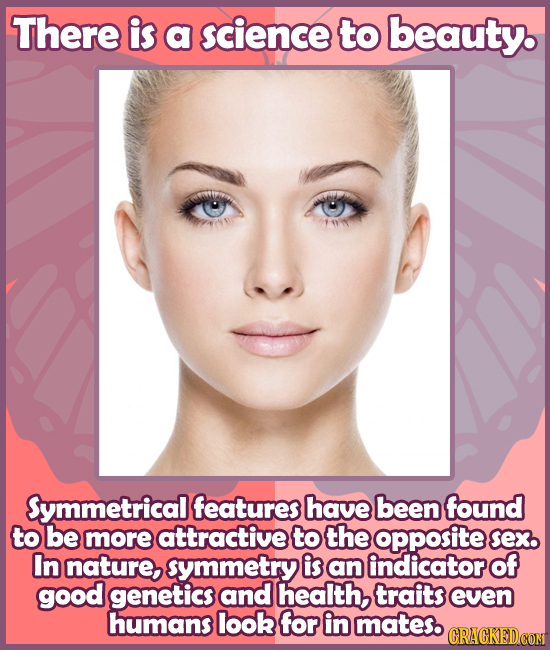 There is a science to beauty. Symmetrical features have been found to be more attractive to the opposite Sex. In nature, symmetry is an indicator of g