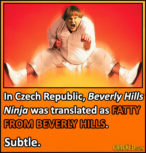 In Czech Republic, Beverly Hills Ninja was translated as FATTY FROM BEVERLY HILLS. Subtle. CRACKED COMT