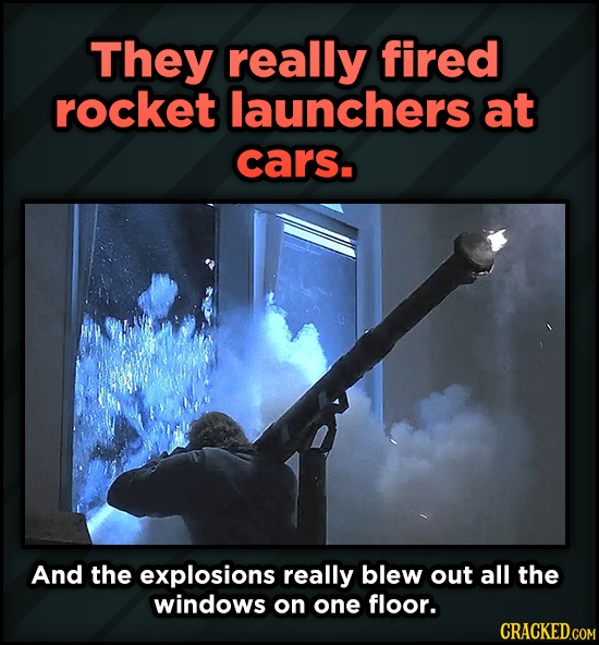 A Roundup Of Surprising, Little-Known Die Hard Facts - They really fired rocket launchers at cars. And the explosions really