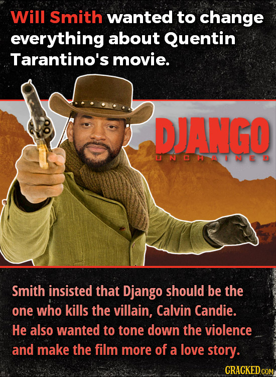 Will Smith wanted to change everything about Quentin Tarantino's movie. DJANGO UNCHAINED Smith insisted that Django should be the one who kills the vi