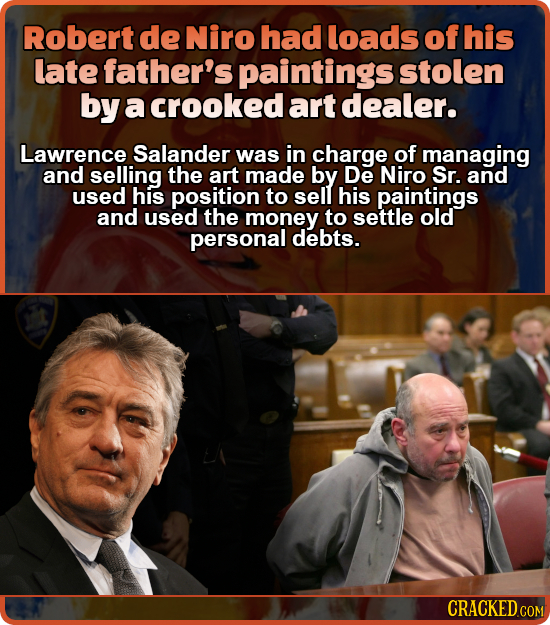 Robert de Niro had loads of his late father's paintings stolen by a crooked art dealer. Lawrence Salander was in charge of managing and selling the ar