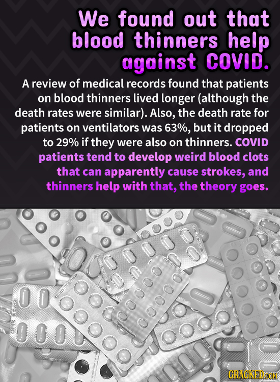 We found out that blood thinners help against COVID. A review of medical records found that patients on blood thinners lived longer (although the deat