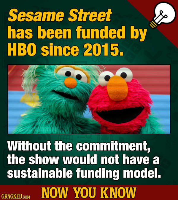 Sesame Street has been funded by HBO since 2015. Without the commitment, the show would not have a sustainable funding model. NOW YOU KNOW