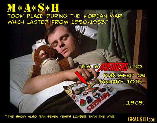 M * A* S*H TOOK PLACE DURING THE KOREAN WAR, WHICH LASTED FROM 1950-1953.* THIS IS SAENGER5S #60 PUBLISHED ON ANLARY 1OTH... ...1969. THE SHOW ALSO RA