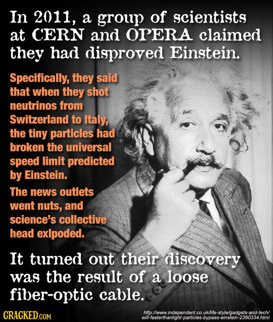In 2011, a group of scientists at CERN and OPERA claimed they had disproved Einstein. Specifically, they said that when they shot neutrinos from Switz