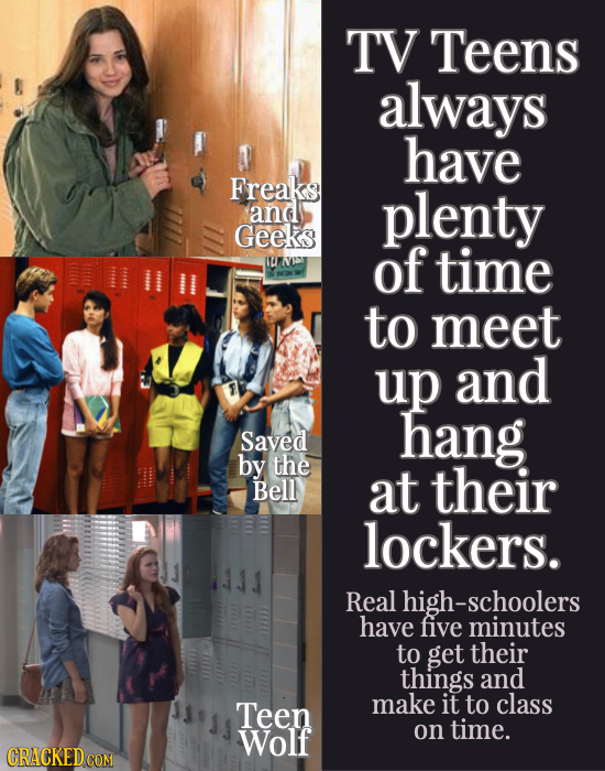 TV Teens always have Freaks and plenty Geeks U W of time to meet up and hang Saved by the Bell At their lockers. Real -schoolers have five minutes to